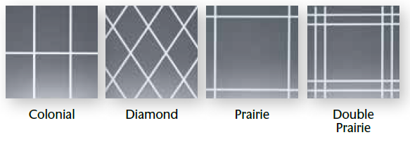 Available grid patterns of Alside Mezzo Windows sold by Smart Windows Colorado